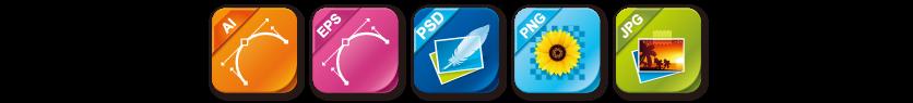 納品ファイル形式は.ai・.eps・.psd・.jpg(.jpeg)・.pngです。